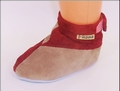 130A slofje rood+zand / chaussons rouge+sable /crib red+sand